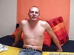 Horny bald gay hunk jerks off his fat shaft