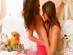 Horny lesbo teens from europe kissing