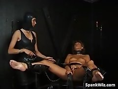Tied brunette gets her hot naked body part3