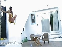Sexy pornstar peeing from the wall