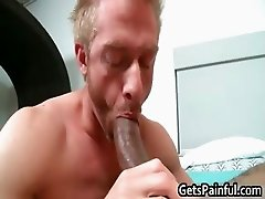Blond stud riding big black jizzster