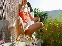 Peeing of beautiful russian chick