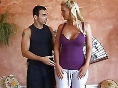 Sexy busty blonde slut goes to the yoga master and gets him horny