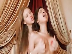 Two babes sharing one huge cock