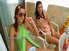 Two girls undress snatches together