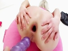 huge black dildo in her tight analhole