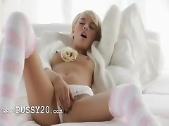 Blonde babe Emma in pink panties
