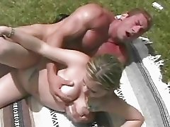 Hot ass blonde in lace undies gives blowjob outdoor