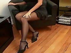 black pantyhose sexy heels