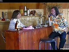 Strap-on armed waitress readily working