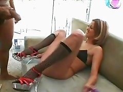 Sluty brunette in half-hose sucks and licks big black boomslang