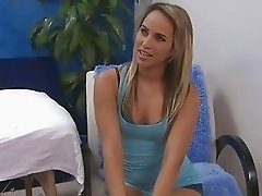Blonde teen girl taking it hardcore doggy style during massage