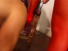 Ita - Mistress strapon + slave + transsexual threesomes 1-2
