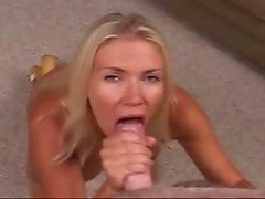 Big tits blonde sucks cock