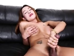 Busty inked ladyboy beauty jerking solo