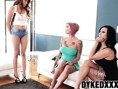 Crazy tattooed MILFs having a wild dyke trio with stepteen