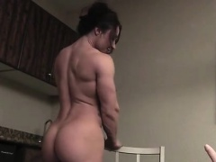Muscular Brandimae Admires Her Naked Body