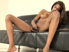 Ebony tgirl wanking her bbc in solo action