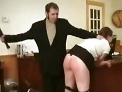 Secretary's ass is spanked, whipped and paddled by her boss