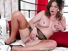 Busty Milf Holly Kiss is offering her kinky naughty nylon heel garter self up for pleasure and sexual masturbation