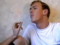 Deviant little twinks swapping smokes and bareback banging