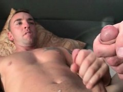 Gay laid on his back and butt fucked in bus