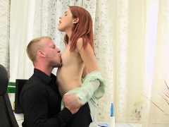 Redhead gets aroused at work by her colleague
