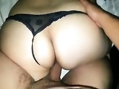 Amateur babe in sexy black panties gets drilled doggystyle
