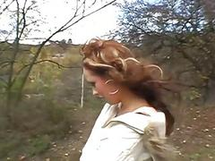 Girl receives a outdoor banging after oralservice