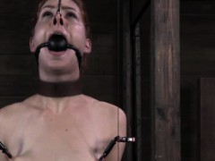 Mouth gagged and nose hooked sub getting nipple treament
