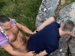 Hot twink scene As he climbs to the top of a rocky hill Brad