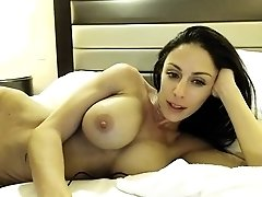 Striking brunette with big round tits gives a nice blowjob