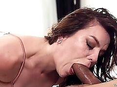 Cutie makes a mess gagging on his dick as she sucks it