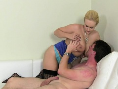Huge tits blonde female agent fucks on casting