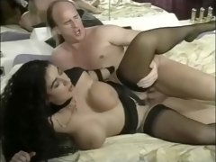 Busty german MILF in black stockings fucked at the club