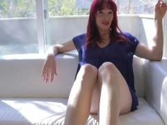Barefoot redhead shemale masturbating solo