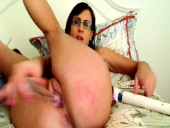 She needs a lot of diffrent toys to reach orgasm