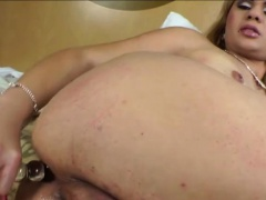 Blonde TS honey Josiane shoots gooey cum after a super solo