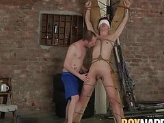 Blindfolded twink dominated and cock sucked by mas