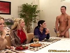 Cfnm Ahryan Astyn and mates share a pink cigar