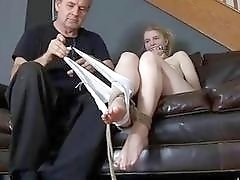 Slave slut tied up and gagged by a pervert BDSM