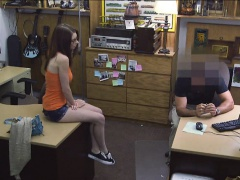 Sexy amateur girl in glasses pussy fucked by the pawn man
