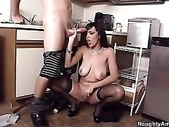 Curvy mom wears black stockings and rides dick