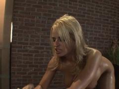 Wet lesbian dildo fucking massage