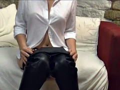Lots of close ups as hot milf pulls sexy leather gloves