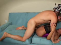 big breasts ts in corset gets her ass rammed on the couch