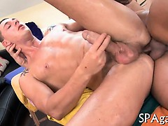 Lascivious chap is giving stud a cock sucking experience