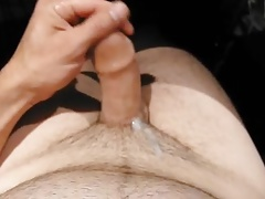Uncut cock masturbation