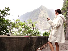 naughty euro girl makes herself cum with a dildo in the mountains