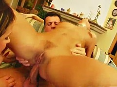 slutty ladies have anal sex with a big cock in a threesome